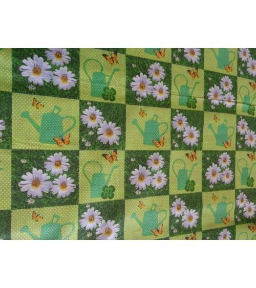 Zöld virág mintás vászon