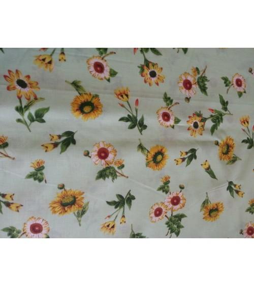 White flower figured linen