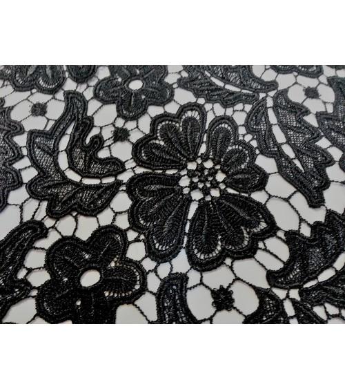 Black big flower figured embroidered lace