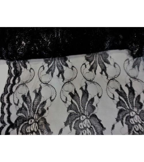 Black big flowered lace