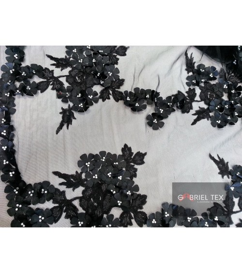 Black flower and pearl figured lace
