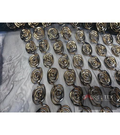 Black-gold circle figured lace