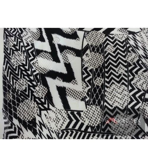 Black-white strech lace