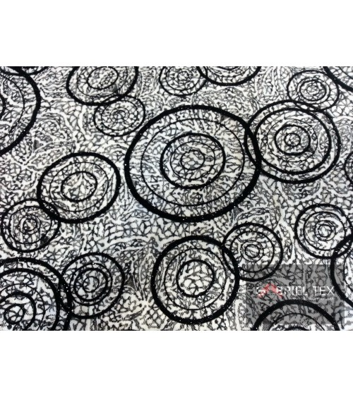Black-white circle figured lace