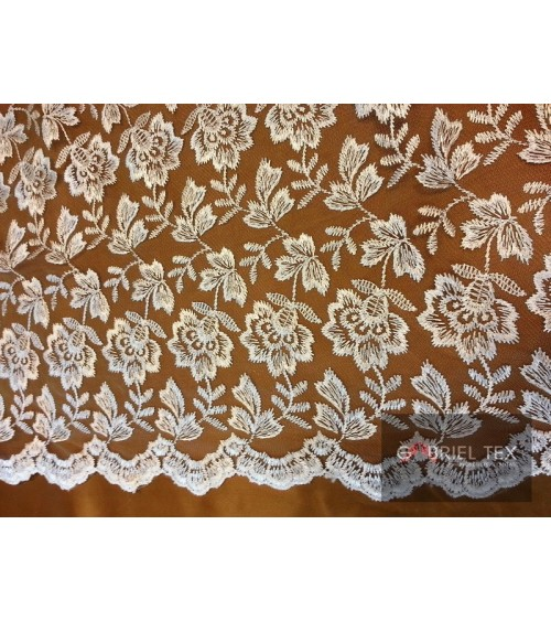 Cream embroidered flower figured lace