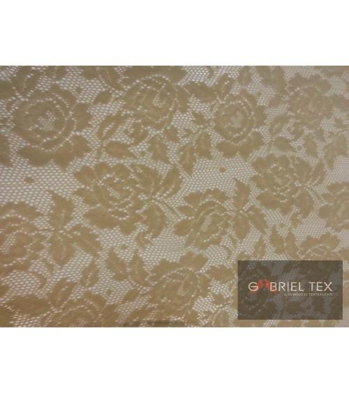 Pale beige flower figured strech lace