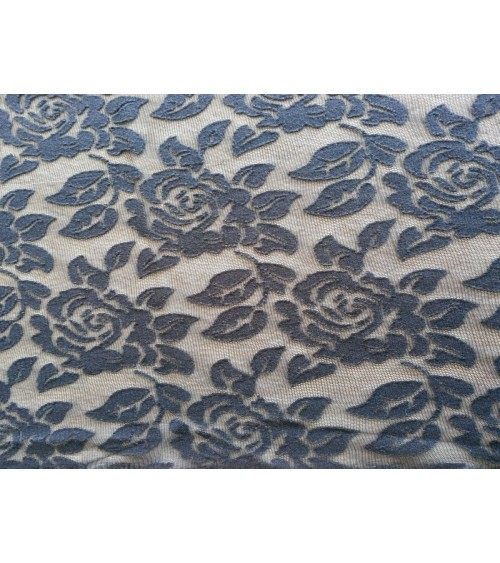 Dark blue rose figured strech lace