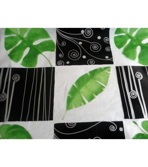 Leaf figured transparent waxed canvas