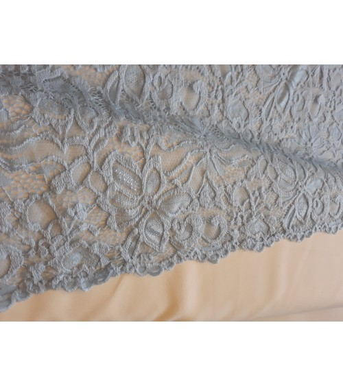 Light blue wavy figured strech lace