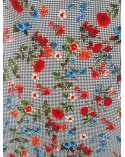 Blue striped flower strech jeans textile