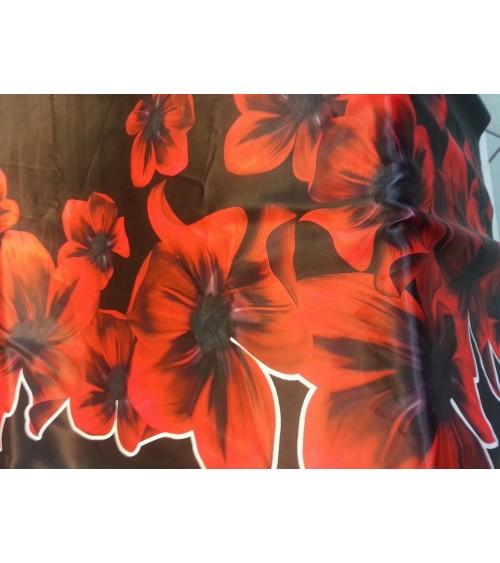 Fekete-piros mintás sztreccs selyem