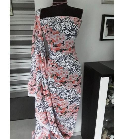 Peach flower colored muslin casual fabric