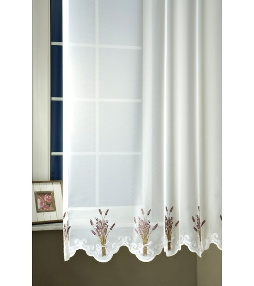 Lola embroidered voile curtain 160 cm high finished