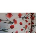 Flower figured red casual fabric