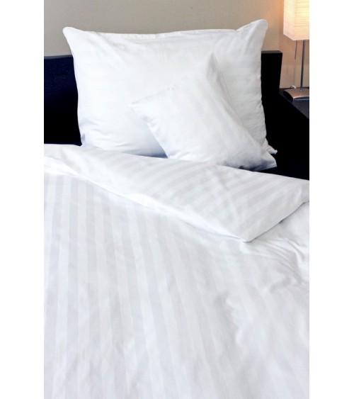Pamutszatén fehér, magábancsíkos ágynemű  garnitúra