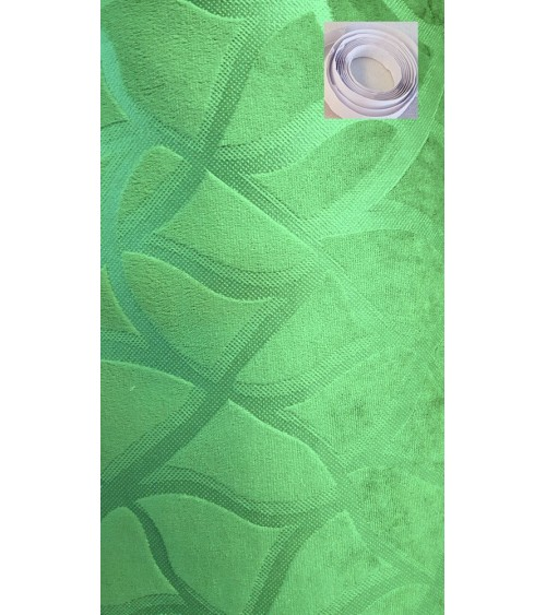 Green plush wallcover
