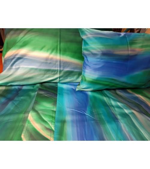 Cotton-satin beige-light blue bedding