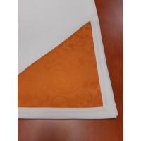 Vajszínű terítő narancs színű sarokdísszel 200x140 cm